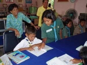 Bleumjit Rubin, WDI's Thailand operations representative with Phi Sohn Nong – Students Tutoring Students.